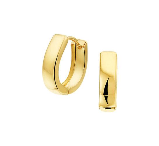 Gouden Klapoorringen Vlak 12 mm