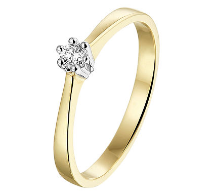 Bicolor gouden Damesring 0.10 ct Diamant
