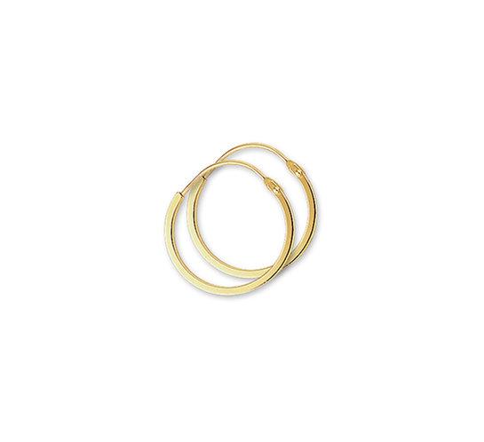Gouden Oorringen 16 mm vierkante buis