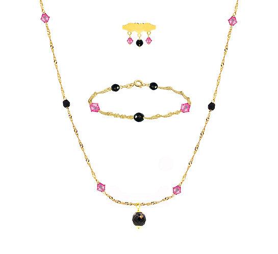 Baby set zwart - roze met Ogri-ai en Swarovski kralen