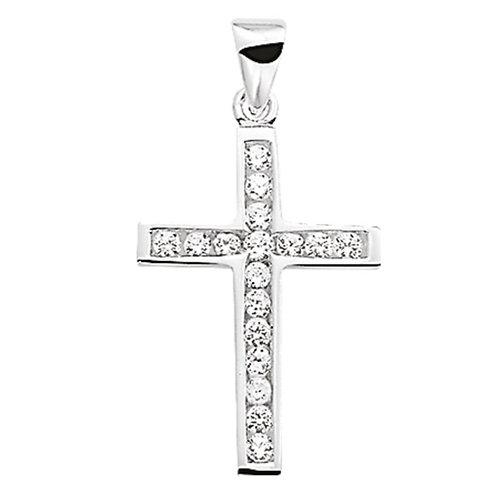 Zilveren Hanger Kruis Zirkonia