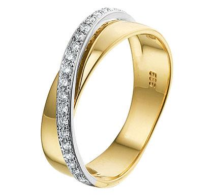 Bicolor gouden Damesring 0.18 ct Diamant