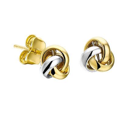 Bicolor Gouden Oorknoppen Knoop
