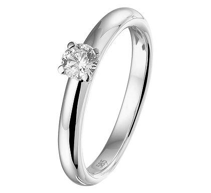 Witgouden Damesring 0.25 ct Diamant
