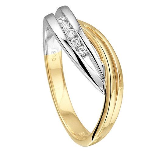 Bicolor gouden Damesring 0.08 ct Diamant