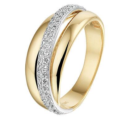 Bicolor gouden Damesring 0.47 ct Diamant