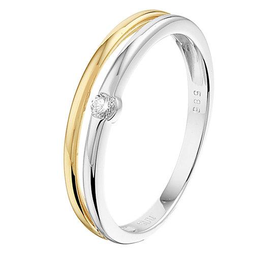 Bicolor gouden Damesring 0.05 ct Diamant