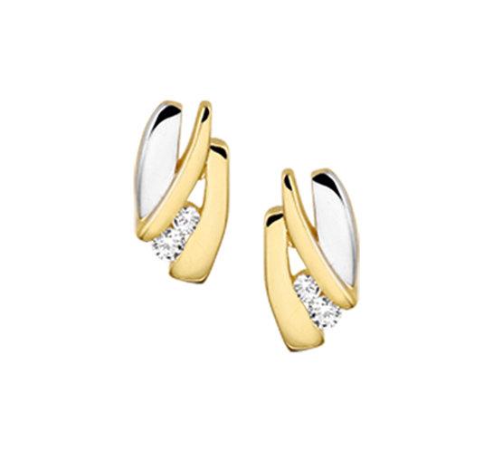 Bicolor Gouden Oorknoppen Zirkonia