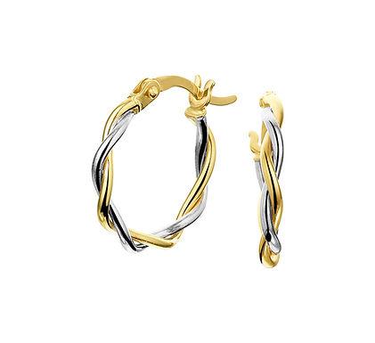 Bicolor Gouden Oorringen 15,5 mm