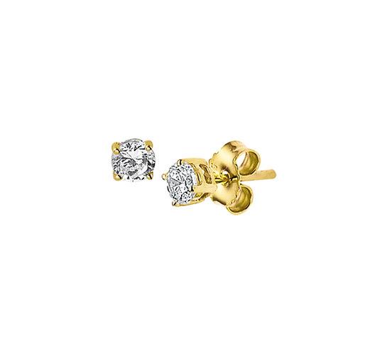 Gouden Oorknoppen Zirkonia 3 mm