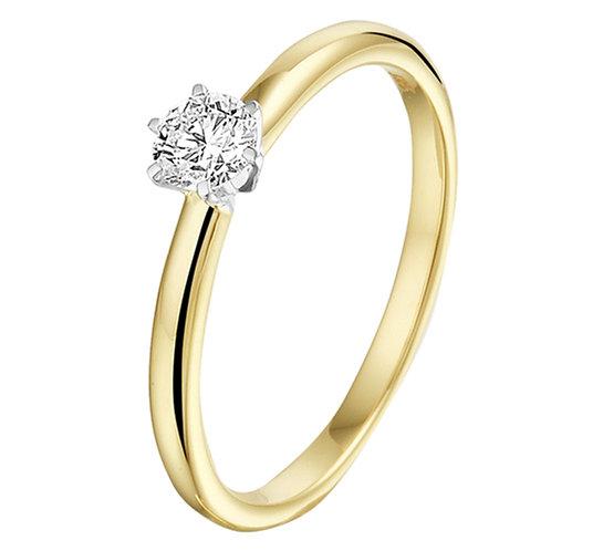 Bicolor gouden Damesring 0.20 ct Diamant