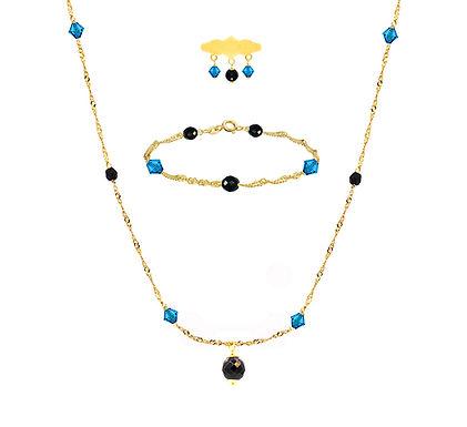 Baby set zwart - blauw met Ogri-ai en Swarovski kralen