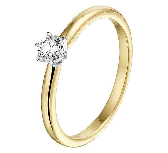 Bicolor gouden Damesring 0.25 ct Diamant