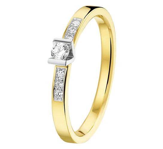 Bicolor gouden Damesring 0.12 ct Diamant