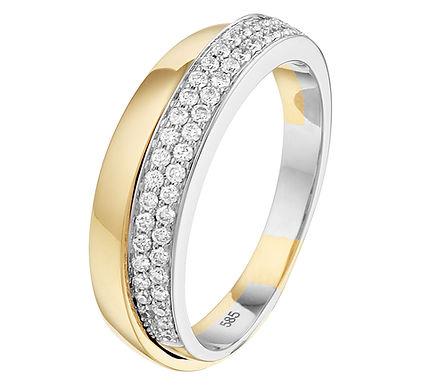 Bicolor gouden Damesring 0.28 ct Diamant