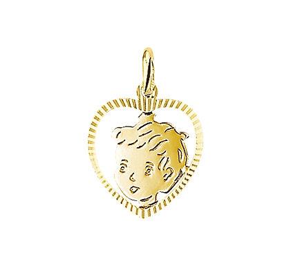 Gouden Kinderhoofdje jongen Gediamanteerd Hart