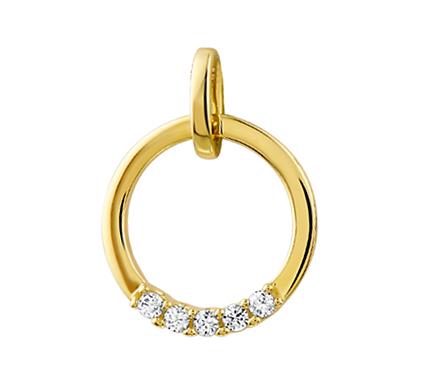 Gouden hanger Diamant 0,10 Ct.