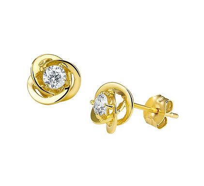 Gouden Oorknoppen Zirkonia 7 mm