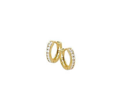 Gouden Klapoorringen Zirkonia 11,5 mm