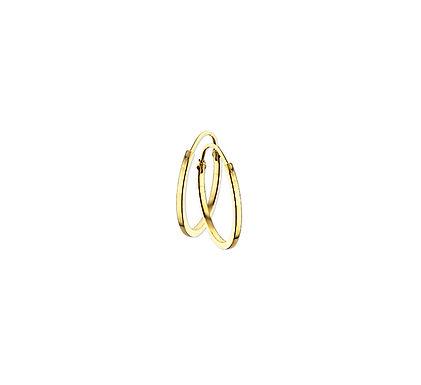 Gouden Oorringen 12 mm vierkante buis