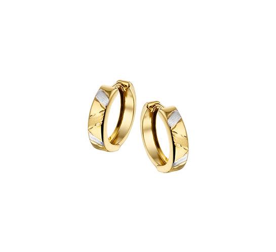 Bicolor Gouden Klapoorringen 15,5 mm