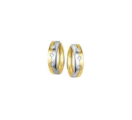 Bicolor Gouden Klapoorringen Zirkonia 12,5 mm