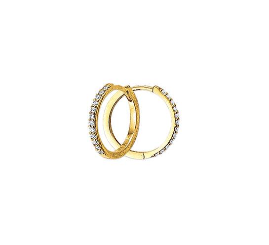Gouden Klapoorringen Zirkonia 17 mm