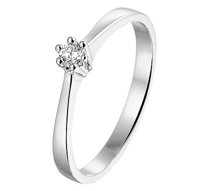 Witgouden Damesring 0.10 ct Diamant