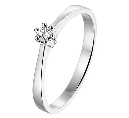 Witgouden Damesring 0.10 ct Diamant