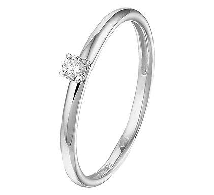 Witgouden Damesring 0.09 ct Diamant