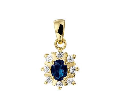 Gouden hanger Diamant met Saffier