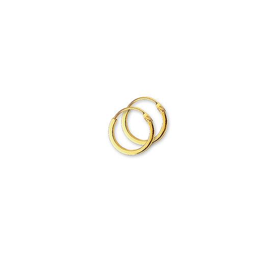 Gouden Oorringen 10 mm vierkante buis