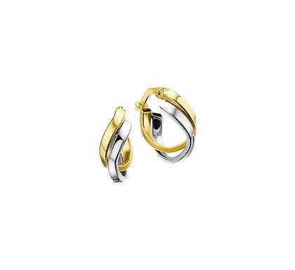 Bicolor Gouden Oorringen 15 mm met vlakke buis