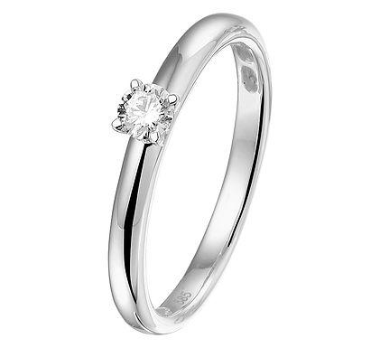 Witgouden Damesring 0.15 ct Diamant