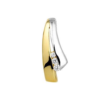 Bicolor Gouden hanger Zirkonia