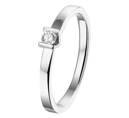 Witgouden Damesring 0.075 ct Diamant