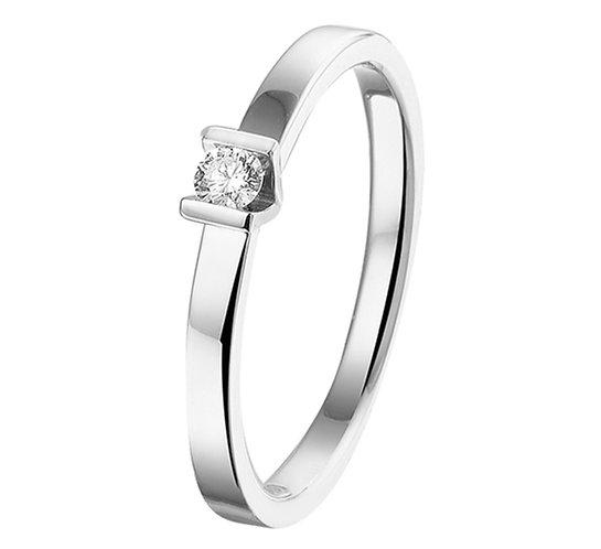 Witgouden Damesring 0.075 ct Diamant