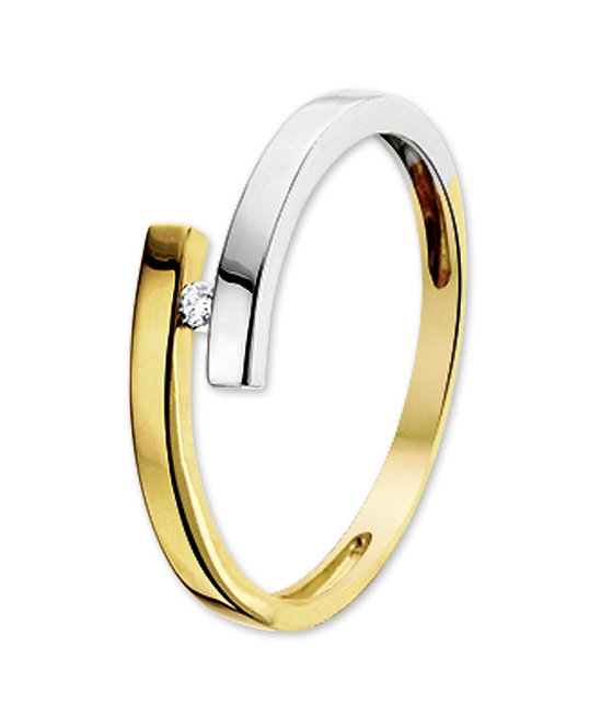 Bicolor gouden Damesring 0.03 ct Diamant