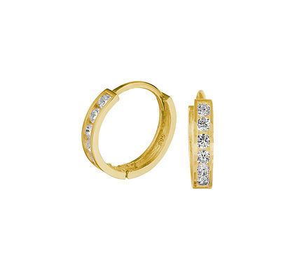 Gouden Klapoorringen Zirkonia 11 mm