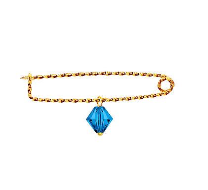Babypeld met Sarovski kraal blauw