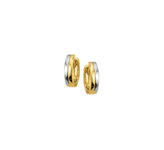 Bicolor Gouden Klapoorringen Vlak 13 mm