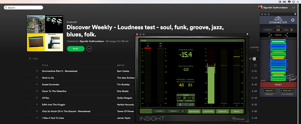 Discover Weekly - Loudness test - soul, funk, groove, jazz, blues, folk.