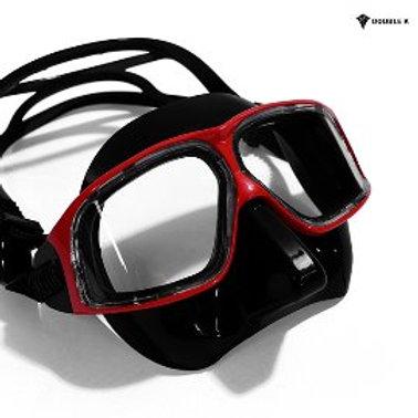 Double K Freediving Mask Jaguar R METAL- Red and Black