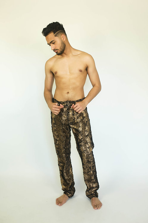 Faux Fur GLAM JEANS in Metallic Gold or Silver