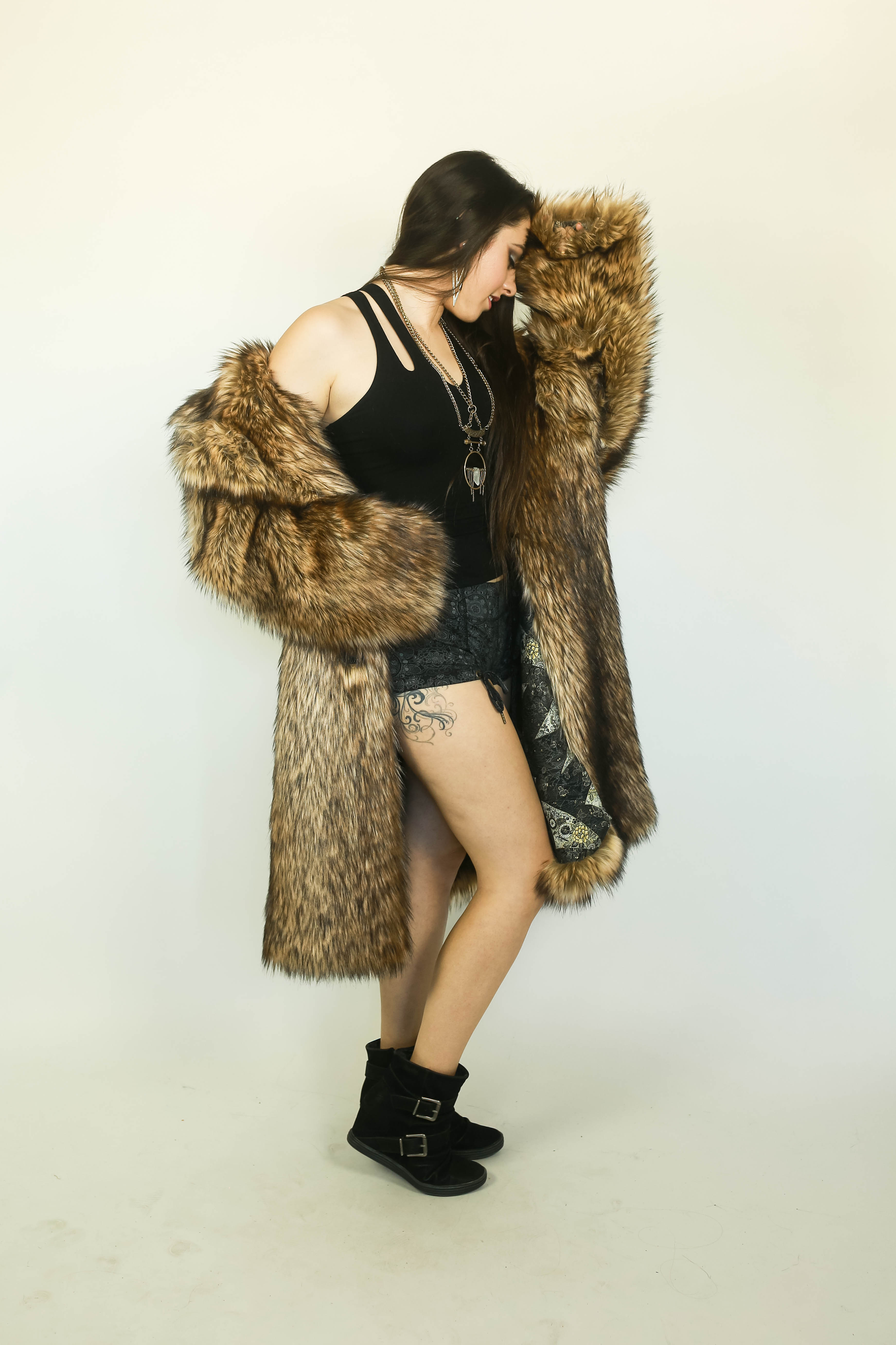 Faux Wolf Fur Overcoat