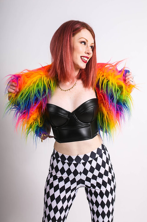 FAUX FUR COLLAR w/ Chain Grommets Detail in RAINBOW MONSTER