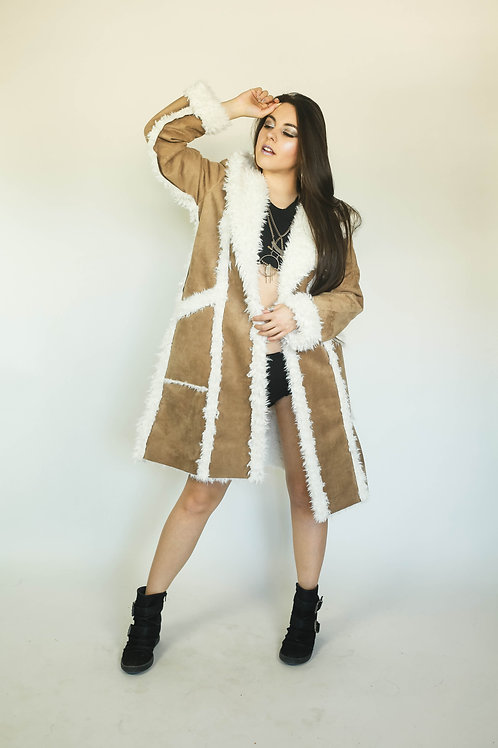 LLAMA MAMA Hooded Coat in Your Choice of Vegan Faux Leather w/ Sherpa Lining