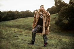Faux Wolf Overcoat & Glam Jeans