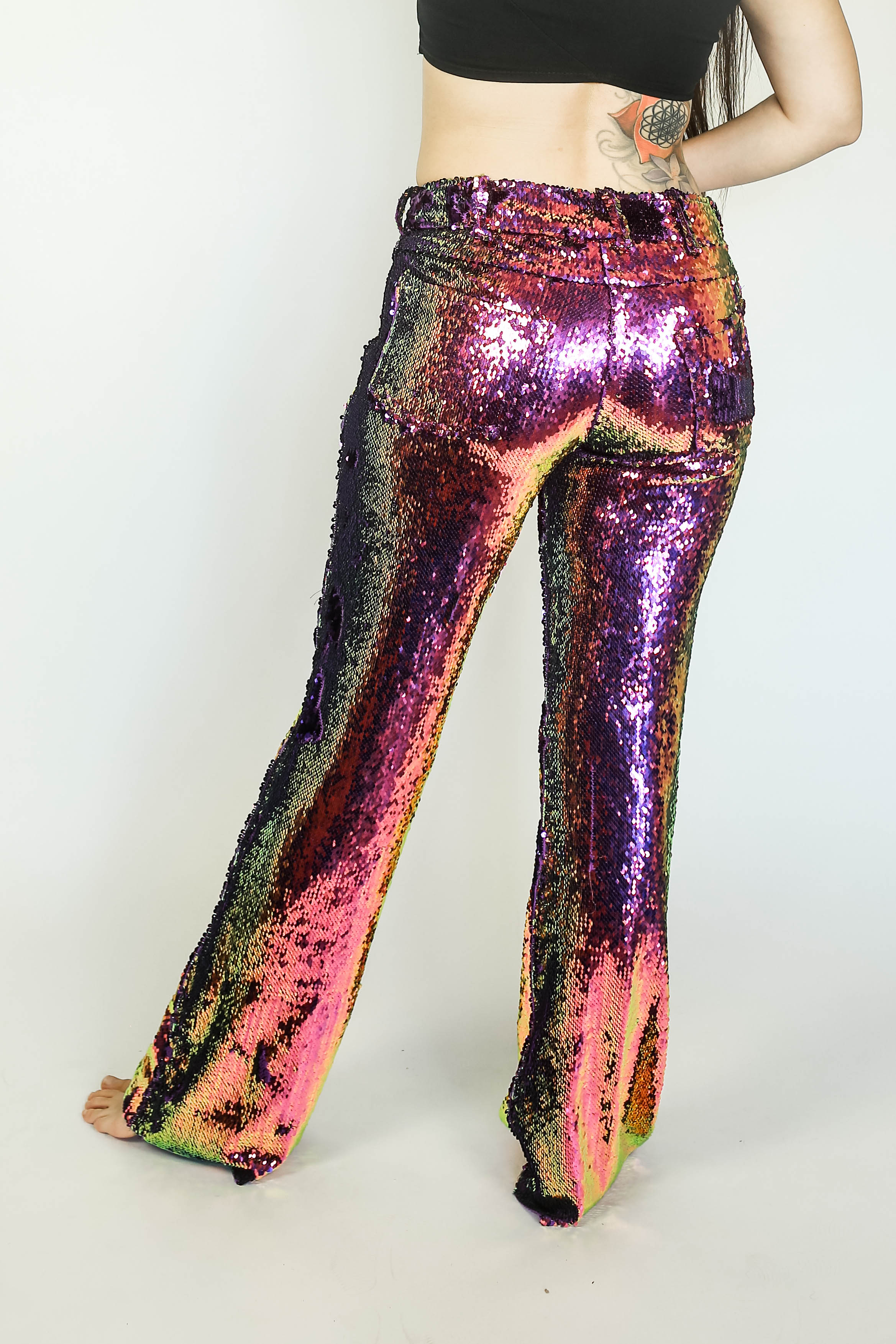 Womens Flip-Sequin Jeans