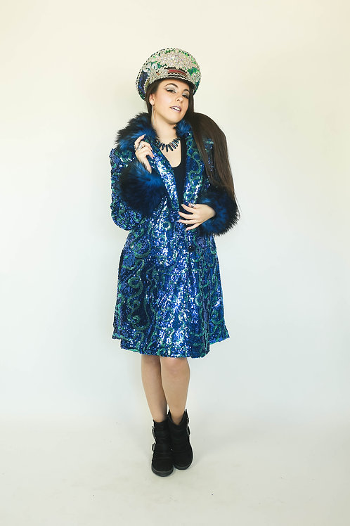 CUSTOM Ribbon Sequin Short Evening Coat--Your choice of Sequins, Furs & Lining